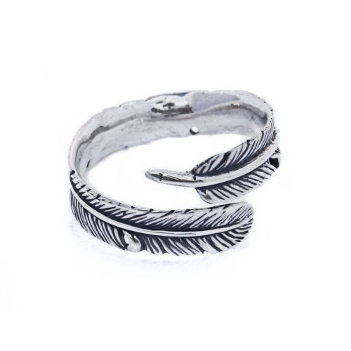 Adjustable Feather Sterling Silver Finger Ring Band (R006)